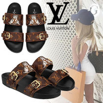 Louis Vuitton Monogram Open Toe Casual Style Blended Fabrics