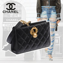CHANEL Lambskin Blended Fabrics Chain Plain Home Party Ideas