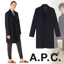 A.P.C. Wool Plain Long Elegant Style Chester Coats
