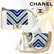 CHANEL BOY CHANEL Calfskin Blended Fabrics 3WAY Bi-color Chain Elegant Style