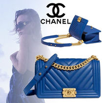 CHANEL BOY CHANEL Calfskin Blended Fabrics 3WAY Chain Plain Elegant Style