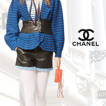 CHANEL Short Blended Fabrics Street Style Plain Leather