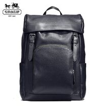 Coach Unisex A4 Plain Leather Backpacks
