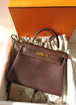 HERMES Kelly 2WAY Plain Leather Elegant Style Handbags