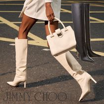 Jimmy Choo Plain Leather Pin Heels Over-the-Knee Boots