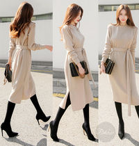 A-line U-Neck Long Sleeves Plain Medium Elegant Style