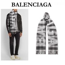 BALENCIAGA Tartan Unisex Wool Fringes Accessories