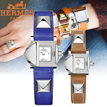 HERMES Blended Fabrics Studded Leather Square Quartz Watches