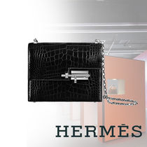HERMES Crocodile Blended Fabrics 2WAY Bi-color Chain Plain