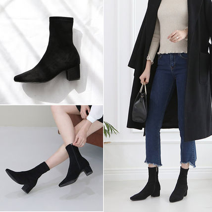 Ankle & Booties Square Toe Suede Plain Elegant Style Chunky Heels