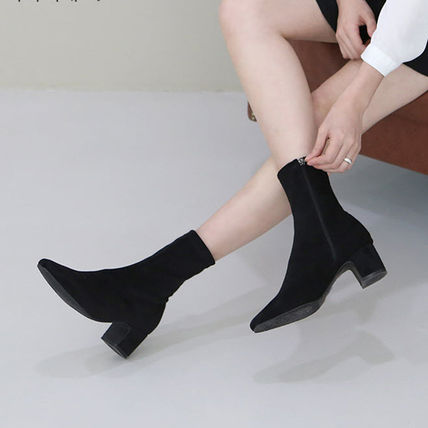 Ankle & Booties Square Toe Suede Plain Elegant Style Chunky Heels 2
