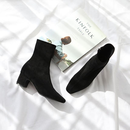 Ankle & Booties Square Toe Suede Plain Elegant Style Chunky Heels 4