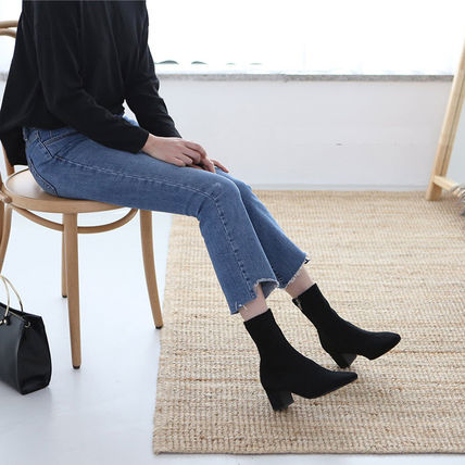 Ankle & Booties Square Toe Suede Plain Elegant Style Chunky Heels 7