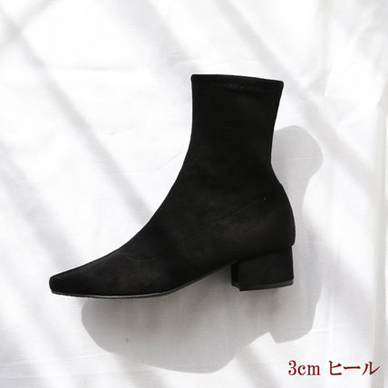 Ankle & Booties Square Toe Suede Plain Elegant Style Chunky Heels 12