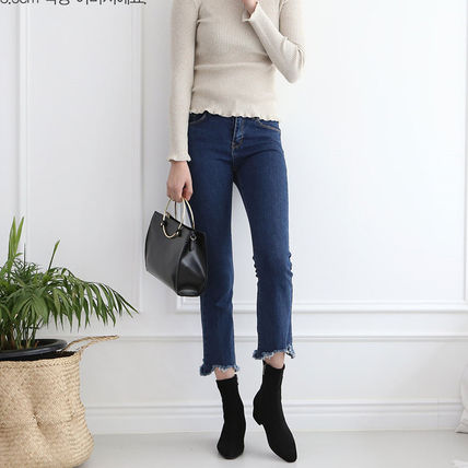 Ankle & Booties Square Toe Suede Plain Elegant Style Chunky Heels 14