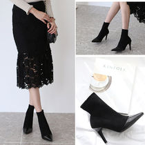 Suede Plain Pin Heels Elegant Style Ankle & Booties Boots