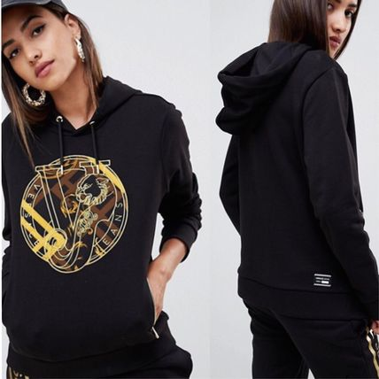 Street Style Long Sleeves Plain Cotton Hoodies & Sweatshirts