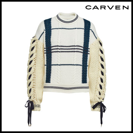 Crew Neck Casual Style Wool Long Sleeves Sweaters