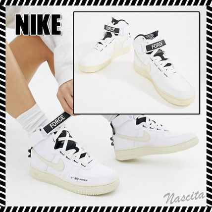 100% quality hot sale online undefeated x Nike AIR FORCE 1 2019 SS Round Toe Rubber Sole Lace-up Casual Style Street  Style