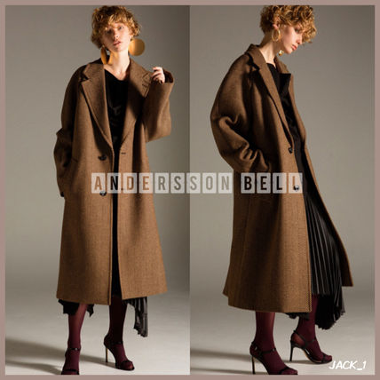 Other Check Patterns Unisex Wool Street Style Plain Long