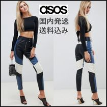 ASOS Casual Style Faux Fur Long Leather & Faux Leather Pants