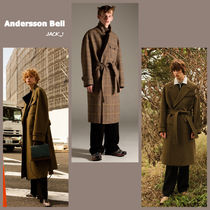 ANDERSSON BELL Gingham Unisex Wool Street Style Plain Long Oversized