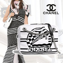 CHANEL Stripes Blended Fabrics Street Style 2WAY Chain PVC Clothing