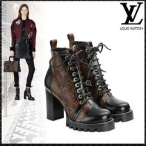 Louis Vuitton MONOGRAM Monogram Plain Toe Rubber Sole Lace-up Blended Fabrics
