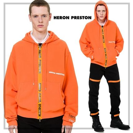 Heron Preston Hoodies Unisex Street Style Long Sleeves Plain Cotton Hoodies