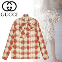 GUCCI Silk Long Sleeves Other Animal Patterns Medium Elegant Style
