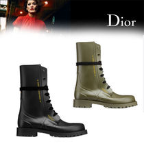 Christian Dior Rubber Sole Lace-up Khaki Lace-up Boots