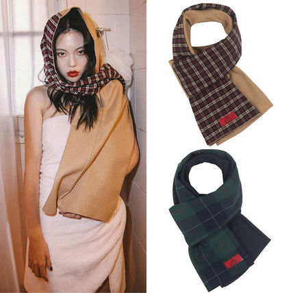 Other Check Patterns Wool Plain Heavy Scarves & Shawls