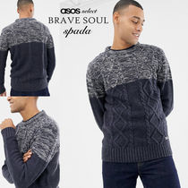 ASOS Crew Neck Cable Knit Street Style Bi-color Long Sleeves