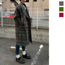 Tartan Wool Street Style Long Oversized Chester Coats