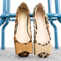 Leopard Patterns Square Toe Casual Style Faux Fur Flats