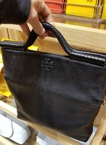 Tory Burch Casual Style Tassel 2WAY Plain Leather Bold Totes