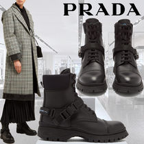 PRADA Rubber Sole Lace-up Plain Leather Lace-up Boots