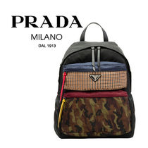 PRADA Other Check Patterns Camouflage Unisex Nylon Blended Fabrics