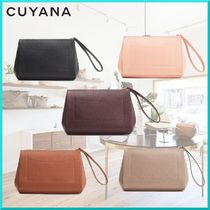 CUYANA Plain Leather Elegant Style Clutches