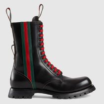 GUCCI Stripes Plain Toe Mountain Boots Plain Leather Outdoor Boots