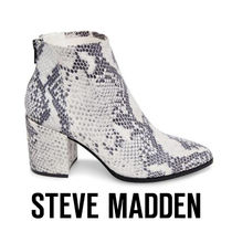 Steve Madden Casual Style Leather Block Heels Python