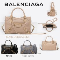 BALENCIAGA CITY Casual Style 2WAY Plain Leather Handbags