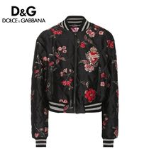 Dolce & Gabbana Short Flower Patterns Casual Style Oversized Varsity Jackets