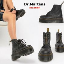 Dr Martens Platform Round Toe Casual Style Leather Mid Heel Boots