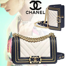 CHANEL BOY CHANEL Stripes Calfskin Blended Fabrics 3WAY Bi-color Chain