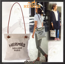 HERMES Aline Casual Style Unisex Canvas Blended Fabrics 2WAY Plain