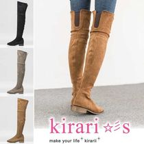 Round Toe Suede Plain Block Heels Over-the-Knee Boots