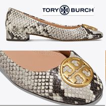 Tory Burch Leather Block Heels Python Elegant Style