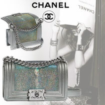 CHANEL BOY CHANEL Lambskin Blended Fabrics 3WAY Chain Party Style