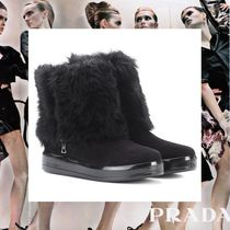 PRADA Rubber Sole Casual Style Suede Blended Fabrics Plain
